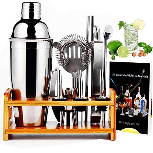 12 Piece Cocktail Shaker Set with Bamboo Stand,Gifts for Men Dad Grandpa,Stainless Steel Bartender Kit Bar Tools Set for Christmas Gift,Home, Bars, Parties and Traveling