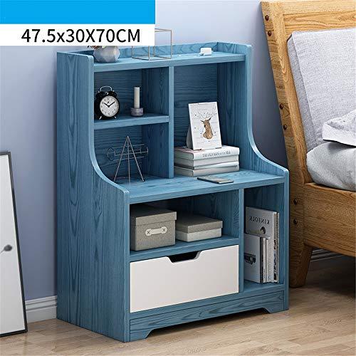 Jtoony Mesas de noche de madera con 1 cajón mesa auxiliar esquinera para salón o dormitorio muebles mesita de noche (color: B, tamaño: 47,5 x 30 x 70 cm)