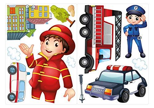 dekodino® Fenstersticker Kinderzimmer Polizist und Feuerwehrmann