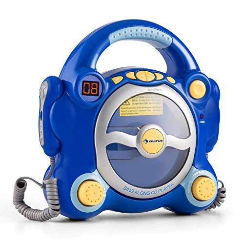 auna Pocket Rocker - Set de Karaoke , 2 x micrófonos dinámicos , Reproductor de CD , Altavoces estéreo , programable , Salida de Auriculares de 3.5mm , asa de Transporte , Azul