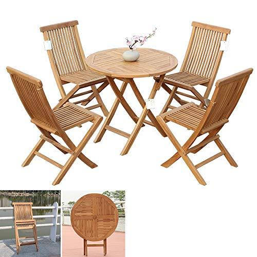 Muebles de jardín plegables de madera maciza Mesa y sillas plegables resistentes a la intemperie, juego de muebles de interior para exterior, sillas de jardín para patio, porche o balcón,Set 2
