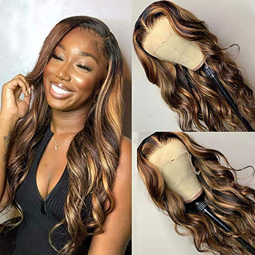 13X1X5 T Part Wave Highlight 2/27 Color Lace Front Wigs Human Hair Pre-Plucked Middle Part For Women Brazilian Lace Front Human Hair Wigs 150% Density (16 Inch)