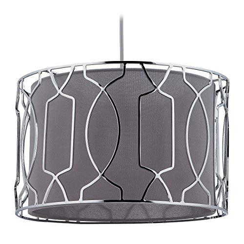 Relaxdays Lámpara de techo, tela y metal, lámpara colgante para salón y dormitorio, E27, altura x profundidad: 124 x 34,5 cm, plata/gris, 10034471
