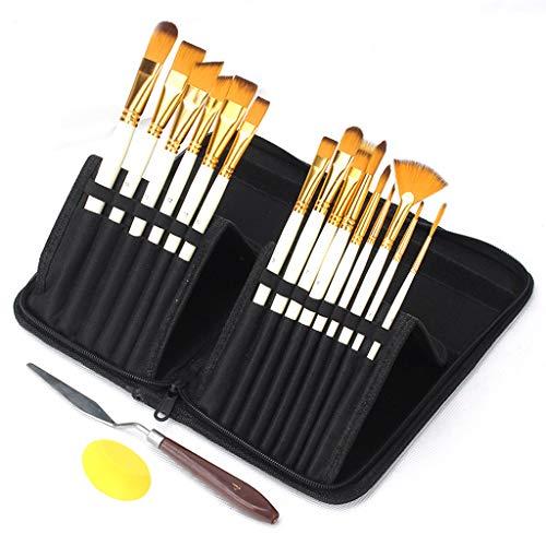 MYhose Nylonbürste 15 Ölpinsel-Set Schwarz Reißverschluss Canvas Bag Set mit Schaber Schwamm Weiß + Gelb