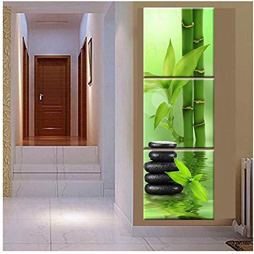 YIYAOFBH Leinwand wandkunst Drucke Bilder Wandkunst Leinwand Malerei Stein Bambus Dekoration Für Wohnzimmer-50x50 cm Kein Rahmen