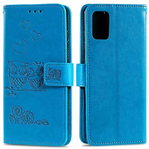 Nadoli Flip Handyhülle für Huawei P40,Schutzhülle Pu Leder Geprägt Blumen Eule Magnetverschluss Wallet Brieftasche Lederhülle mit Standfunktion für Huawei P40