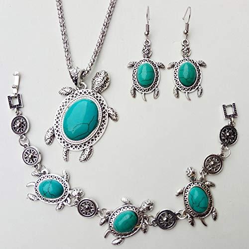 guodong Conjunto de Joyas de Turquesa para Mujer Boho, Pendiente Colgante de Color Plateado con Encanto para Mujer, Pulsera de Tortuga Marina Bonita, Collar de Cadena de Boda