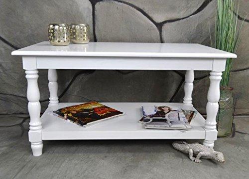 Livitat® Couchtisch Wohnzimmertisch 90 x 50 cm Landhaus Vintage barock Weiß LV4057