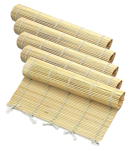 5pcs Sushi Roll Mat Bamboo, Sushi Mat Sushi Roll, tappetino di bambù eco-compatibile, tappetino di bambù fai da te, set di avviamento per principianti Kit sushi, kitchens accessori