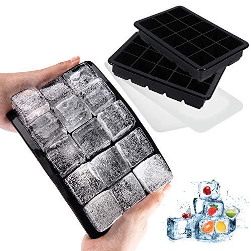 LessMo Eiswürfelform, 2er Pack große Silikon Eiswürfelbehälter mit Deckel, BPA-Frei Für 30 Große Eiswürfel (3cm) [Updated]