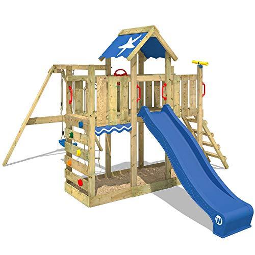 WICKEY Spielturm Klettergerüst TwinFlyer mit Schaukel & blauer Rutsche, Kletterturm mit Sandkasten, Leiter & Spiel-Zubehör