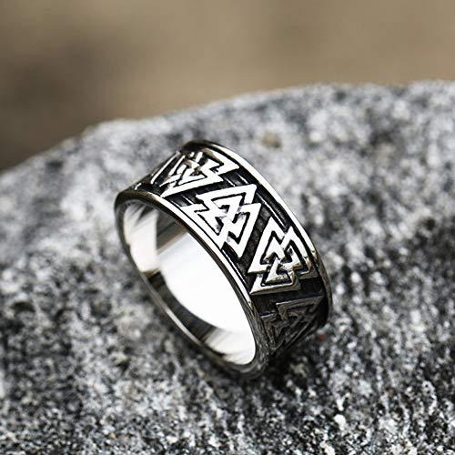 Serired Anelli Uomo in Acciaio Inossidabile Vikings Odin Symbol, Amuleto Unisex Vintage Pagano Nordico Celtico con Rune di Drago, Taglia 7-13,Celtic Knot,12