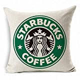 KLDECOR PopPhoto® Starbucks Pattern Thick Retro Cotton and Throw Pillow Cover Cushion Cover Car Cushion Pillow Case (Green) Fundas para Almohada (65cmx65cm)