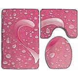 Set di tappeti per bagno con stampa a cuore d'acqua, tappeti da bagno in 3 pezzi antiscivolo + coprisedile per WC + tappetino per contorno