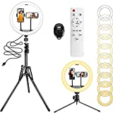 """12"""" Ring Light with 63' Extendable Tripod Stand & 2 Phone Holders, 10 Color Temperature 10 Brightness Remote & Touchpad Control Selfie Ring Light for Live Stream/Makeup/YouTube Video/TikTok"""