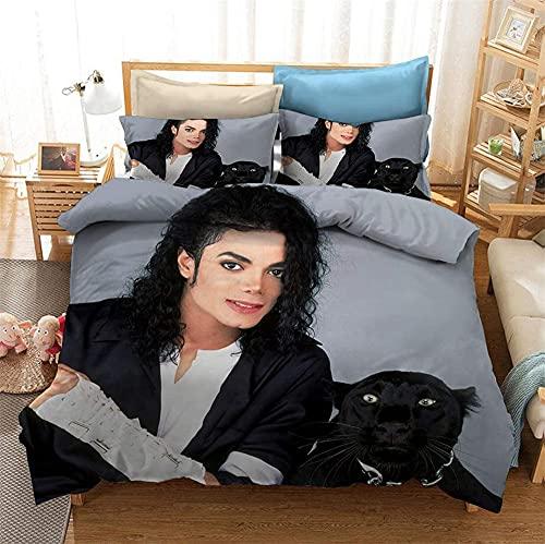 AZJMPKS Michael Jackson Juego de ropa de cama RockMusikcam,funda nórdica,fundas de almohada,microfibra, juvenil 3D (A10,135 x 200 cm + 80 x 80 cm x1)