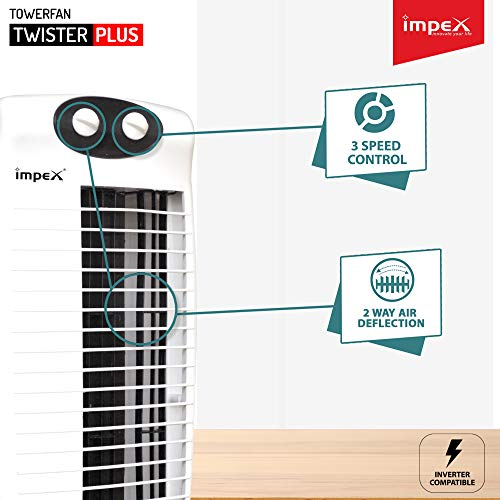 Impex TWISTER PLUS Tower Fan With 25 Feet Powerful Air Throw, 3 Speed 2 Way Air Deflection & High Speed 2250 m3/hr Air Delivery (1200 Rpm, Black & White)
