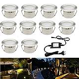 10x Lámpara de foco de LED para terraza, enterrada, plafón - CC 12 V, 1W, IP67,ø45mm Lámpara exterior decorativa para camino escalera o piscina color blanco cálido, Blanco cálido 1.00W 12.00V