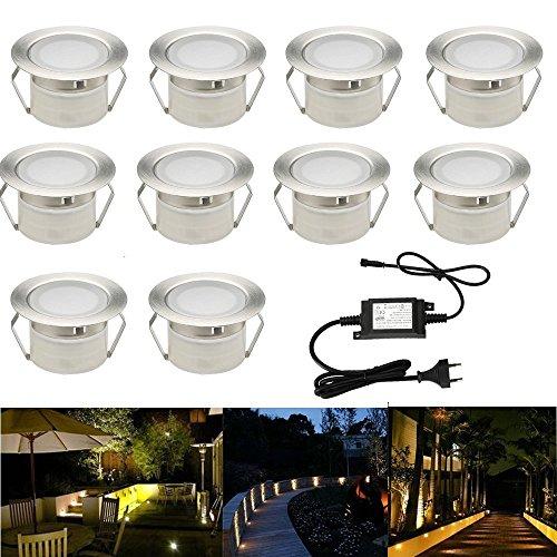 10x Lampe de Spot A LED pour Terrasse Enterré Plafonnier DC12V 1W IP67 Ø45mm Lampe Extérieur Déco Pour Chemin Escalier Piscine Lampe blanc chaud