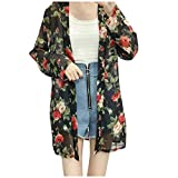 Cardigan Donna Cappotto Cardigan Kimono da Donna Top in Pizzo con Stampa Floreale in Chiffon Coprispalle Completo Average Size NY