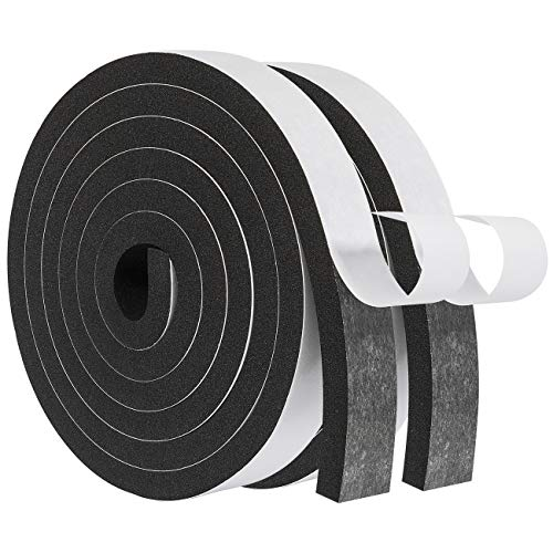 Window Insulation-2 Rolls, 1 Inch Wide X 3/8 Inch Thick Foam Strips with Adhesive Soundproofing Insulation Wide Weather Stripping Total 13 Feet Long(6.5ft x 2 Rolls )