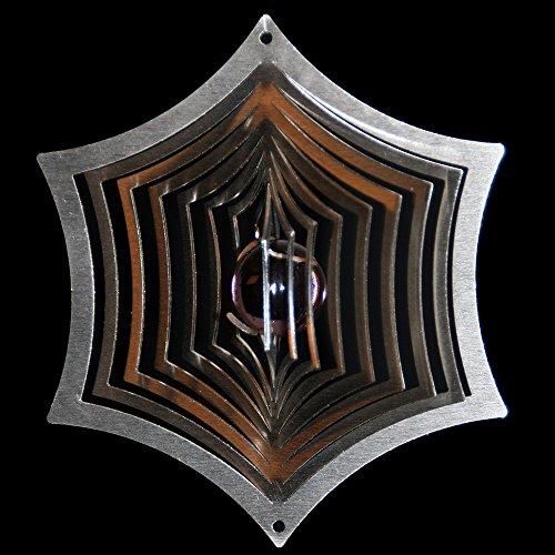 Roestvrij stalen windspel spinnennet Ø-13,5 cm met glazen bol Ø-25 mm (paars/paars) voor de tuin en als raamdecoratie