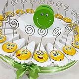 Torta da 20 fette faccine Smile Emoticon Clip Porta Foto Messaggio bomboniere Compleanno