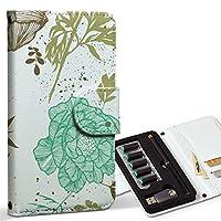 スマコレ ploom TECH プルームテック 専用 レザーケース 手帳型 タバコ ケース カバー 合皮 ケース カバー 収納 プルームケース デザイン 革 ユニーク 花 青 ブラウン 004439