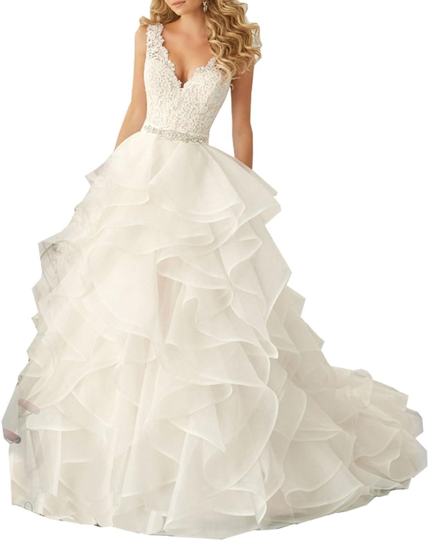 Lavaring Women's VNeck Organza Lace Beaded Pleat Backless Sweep Wedding Dress