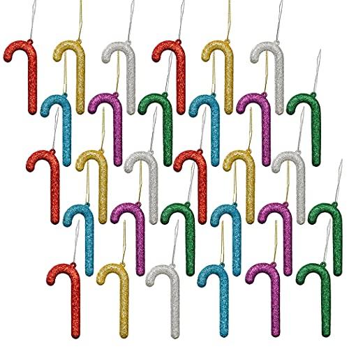 FunPa 30 Pezzi, Ornamento da Appendere con Glitter di Natale, Ornamento di Bastoncini di Zucchero