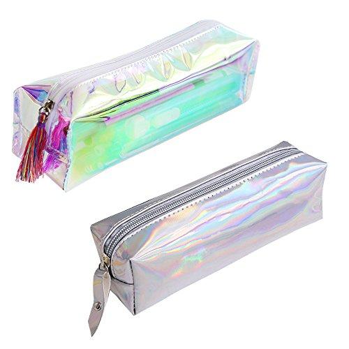 Contever Trousse Crayon de PVC Fermeture éclair Pochette pour Papeterie Sac de Maquillage 19 * 6 * 5CM (2 Pcs - Transparente+Argente)