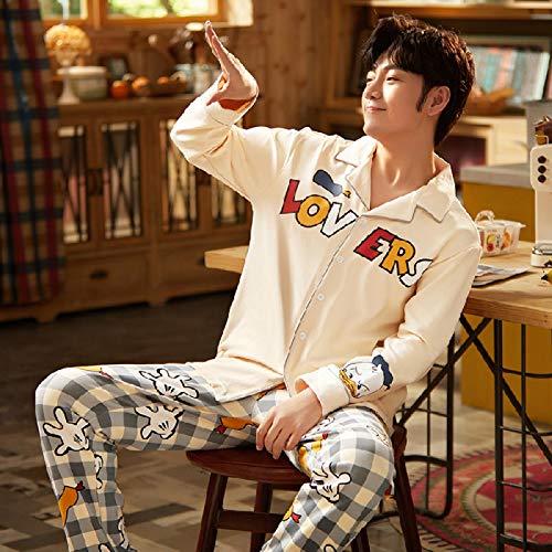 Amantes 'Pijamas Mujeres y Hombres Otoño con Invierno Algodón Ropa de Casa Pijamas Camisón de Damas Ropa de Dormir Pijama XL Hombres