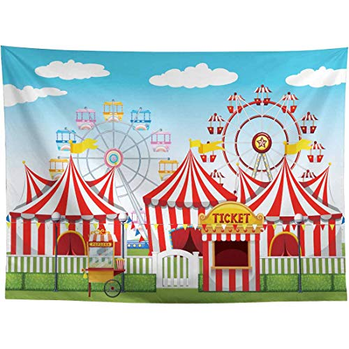 Allenjoy 8x6ft Red Circus Backdrop Amusement Park Tents Stratus Playground Carnival Carousel Background for Kids Boy Girl 1st First Birthday Party Decors Baby Shower Photo Booth Banners