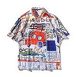 PENNY73 Camisa de Playa Hawaiana para Hombre con Botones Cárdigan de Estilo Holgado con Estampado de Grafiti Top de Solapa con Estampado de Coche,XL(185cm83kg)