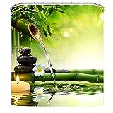 Luzoeo Cortina Verde de Ducha Impermeable imtransparent Antimoho (poliéster Panel de Cuarto de baño Estampado Dibujo 3D bambú Flor Agua conrante Ganchos), Verde, 180 x 200 cm
