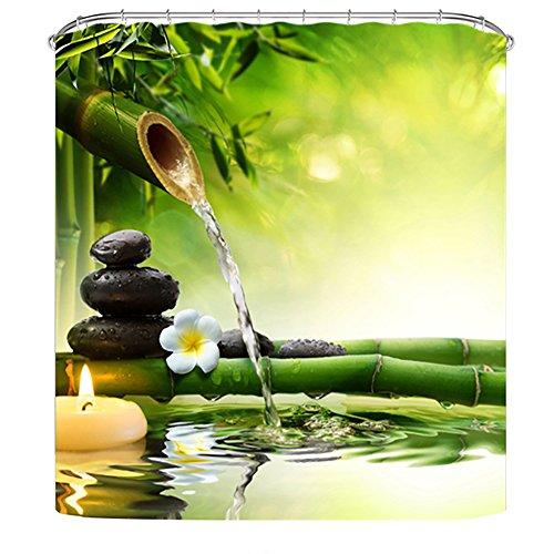 Litthing Duschvorhang 180x180 Anti-Schimmel & Wasserabweisend Shower Curtain mit 12 Duschvorhangringen 3D Digitaldruck Grüne Pflanze mit lebendigen Farben (1)