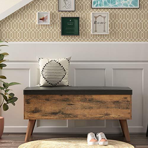 HOOBRO Sitzbank Schuhbank mit Stauraum, gepolsterte Truhe, Betttruhe, multifunktionale Truhe, 100 x 40 x 48 cm, Stabiler, für Flur, Wohnzimmer, Schlafzimmer, einfach zu montieren, Vintage EBF97CW01 - 6