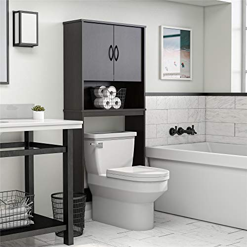 """Ameriwood Home Classic Over The Toilet Storage Cabinet, 63.6""""H x 26.69""""W x 9.84""""D, Espresso"""
