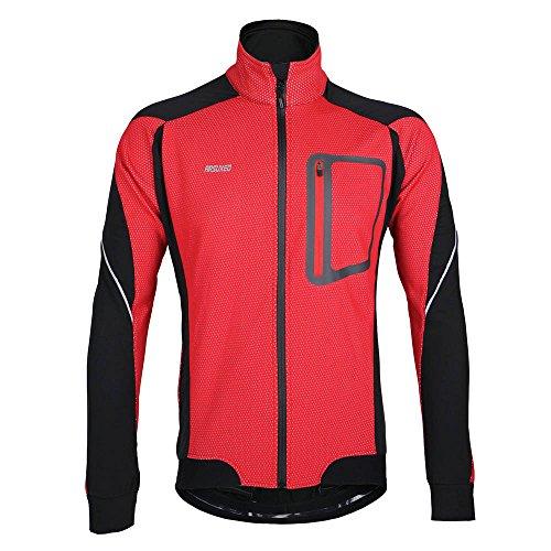 Docooler Veste à Manches Longues Hiver, Chaud Cyclage Thermique à Manches Veste, Vélo Vêtements Coupe-Vent (Rouge, XL)