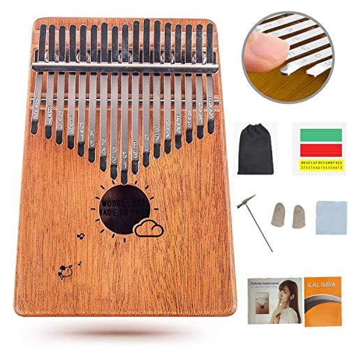 Flybiz Kalimba 17 Teclas Thumb Piano, Caoba Africana Thumb Piano Dedo Percussion, Música Finger piano Kalimbas para Niños Principiantes Adultos Cumpleaños Idea de Navidad, con Bolsa de Transporte