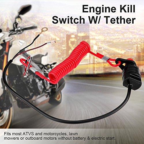 Interruptor de parada de emergencia Keensso Universal motocicleta fuera de borda Interruptor de cortacésped Llave de emergencia Tapón del motor con cable