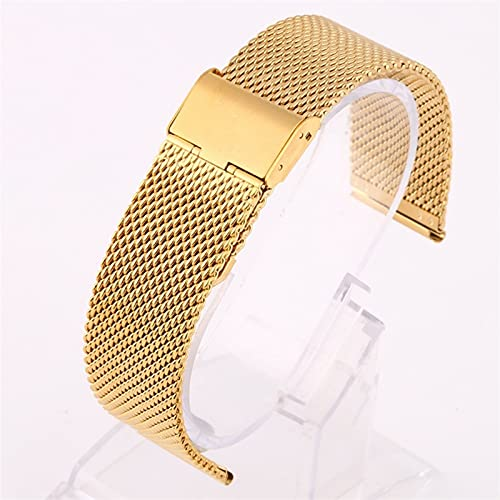 ZZDH Correas Relojes Acero Inoxidable Reloj de Reloj 18 mm 20 mm 22 mm 24 mm Metal de Acero Inoxidable Universal de Acero Inoxidable Correa de Banda (Band Color : Gold, Band Width : 22mm)
