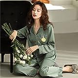 ML S HJDY Lady Lady Silk Satin Pijamas Set Pijama Sleepwear Nightwear Loungewear Homewear,A,XL