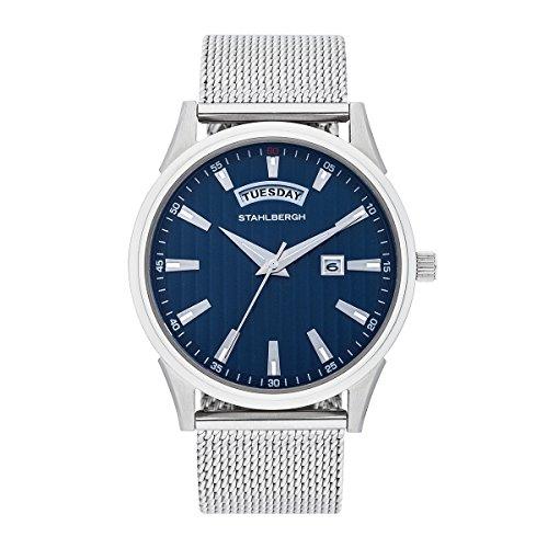 Stahlbergh Herren Uhr analog Japanisches Quarzwerk mit Edelstahl Armband Silber 5 ATM 10060052