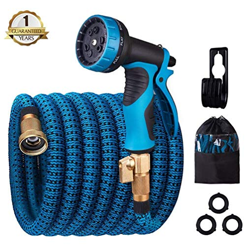 monyar Garden Hose Expandable Water Hose 30 Feet,Extra Strenght/No-Kink Lightweight/Durable/Flexible/9 Function Spray Hose Nozzle 3/4 Solid Brass Connectors Garden Hose for Watering/Washing