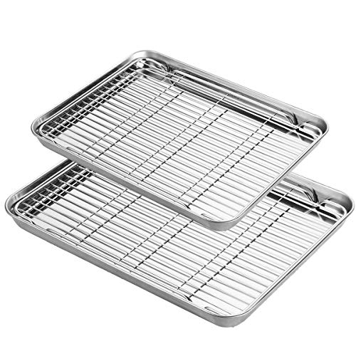 Baking Sheet with Rack Set, Yododo Stainless Steel Baking Pans Tray Cookie Sheet with Cooling Rack, Non Toxic & Healthy, Rust Free & Heavy Duty, Mirror Finish & Easy Clean, Dishwasher Safe – 4 Pieces