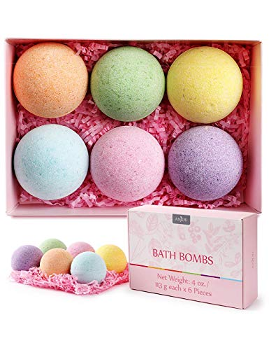 Anjou Bath Bombs, 6 Pack Fizzies Spa Gift Set Pure Natural Essential Oils Bubble Bath for...