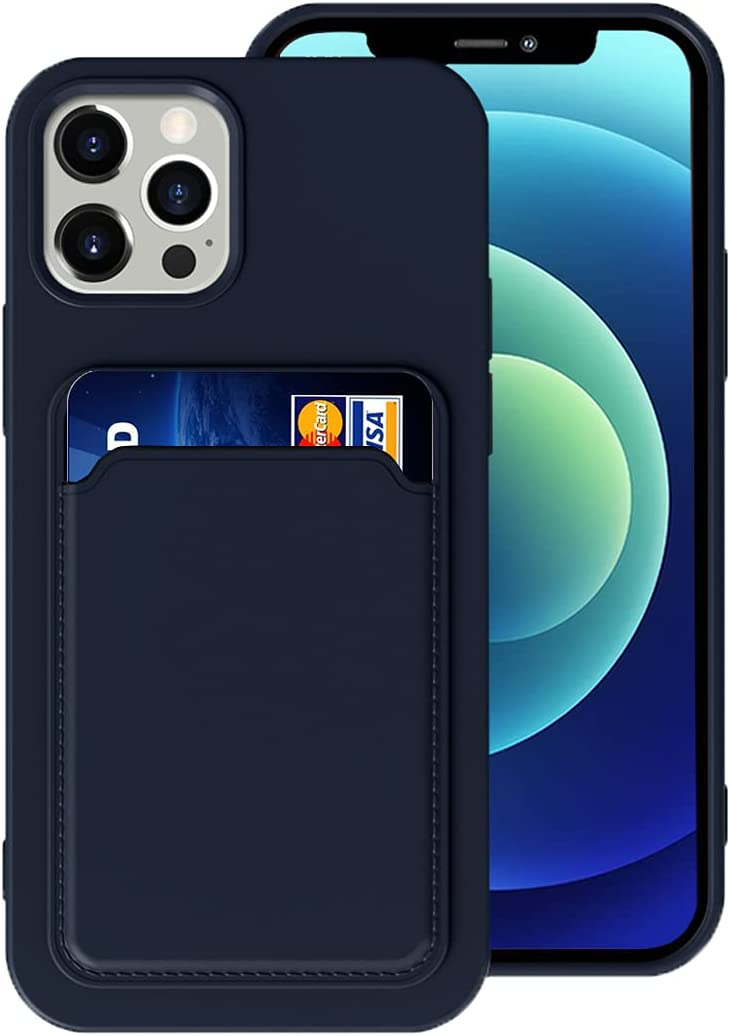 Silicone Card Case Compatible with iPhone 12/iPhone 12 Pro 6.1inch, Shock-Absorbing Protective Case with Card Holder, Soft Slim Wallet Case Compatible with iPhone 12/12 Pro (2020 Release)-Dark Blue