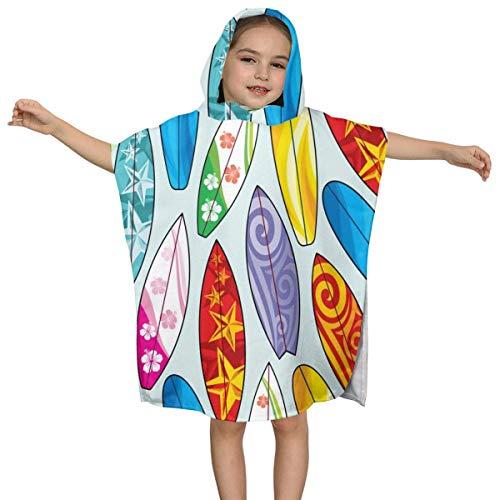 IUBBKI Patrón con Tablas de Surf Toalla de baño con Capucha para niños de Secado rápido, para baño, Piscina y Playa, Turbante de Secado rápido, súper Absorbente para niños Menores de 7 años