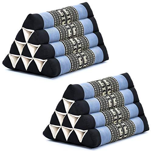 Leewadee Set de 2 Almohadas Triangulares tailandesas – Respaldos Hechos a Mano para Leer, Cojines de kapok Natural, 50 x 33 x 33 cm, Set de 2, Azul